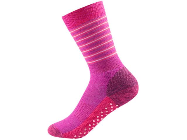Devold Multi Medium Socks Barn fuchsiastripe